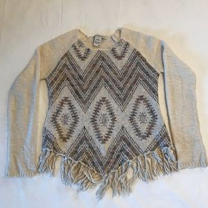 American Rag Aztec Print Sweater with Fringe Med